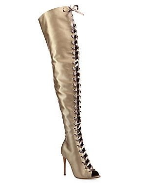 Gianvito Rossi Marie Satin Over-The-Knee Lace-Up Peep-Toe Boots