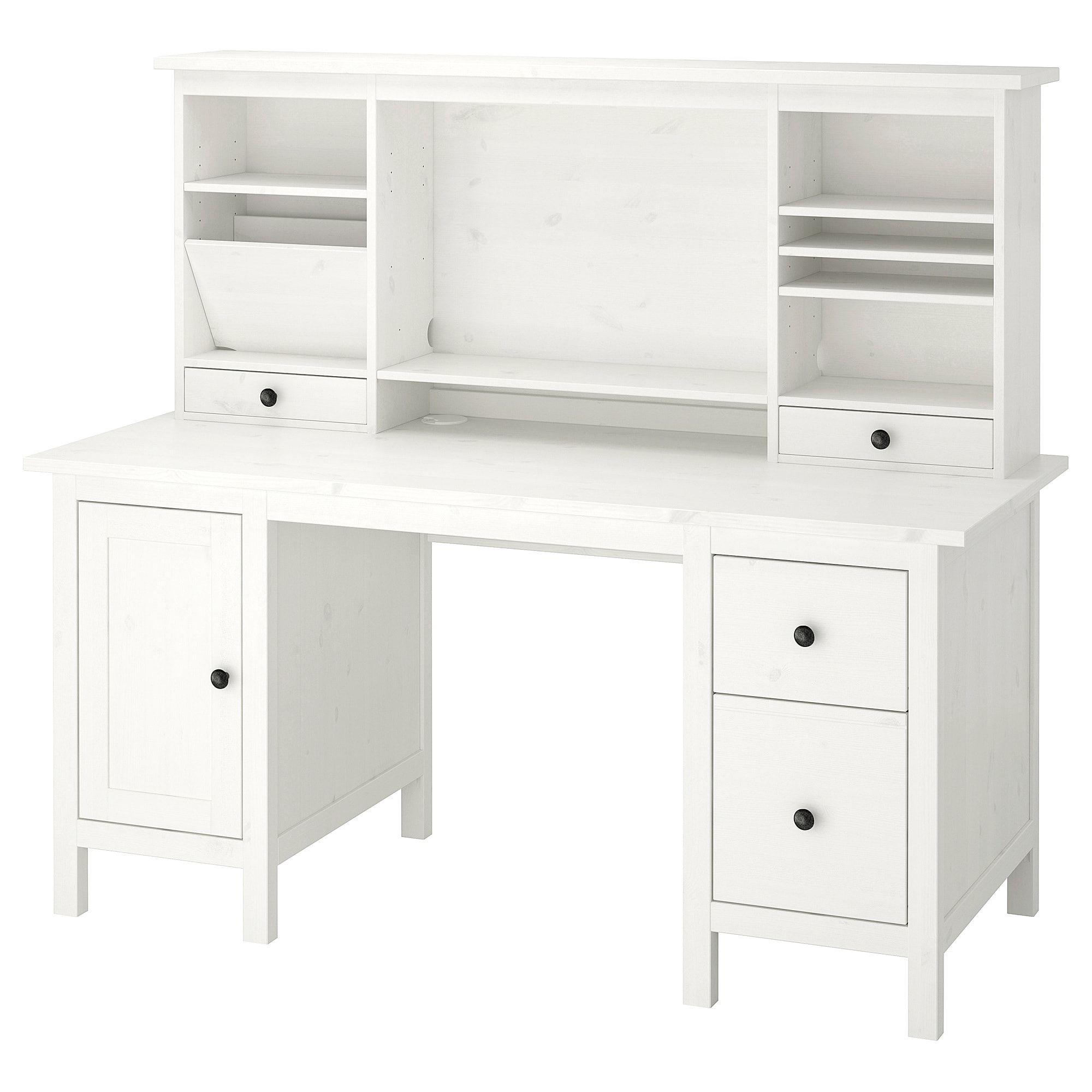 Hemnes White Stain Desk With Add On Unit 155x137 Cm Ikea In 2020 Hemnes Desk Storage White Desk With Drawers