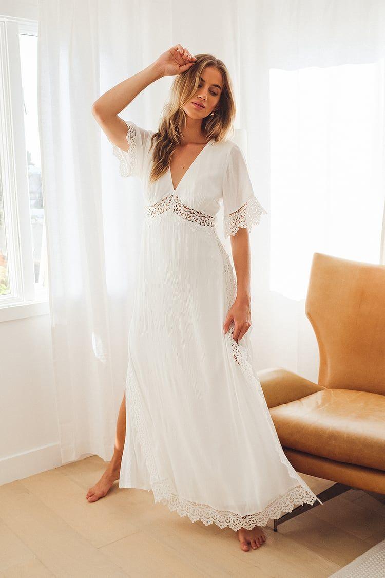 V Neck Lace Maxi Dress Roskiki Lace Maternity Dress Lace Dress Boho White Lace Dress Boho [ 1200 x 880 Pixel ]