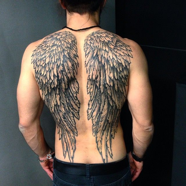 377ae360b0807 Angel wing tattoos for men are some of the most popular tattoos today.  These tattoos