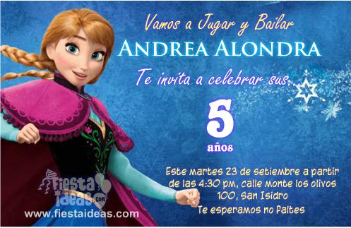 Frozen Invitaciones De Cumpleanos De Anna Para Imprimir