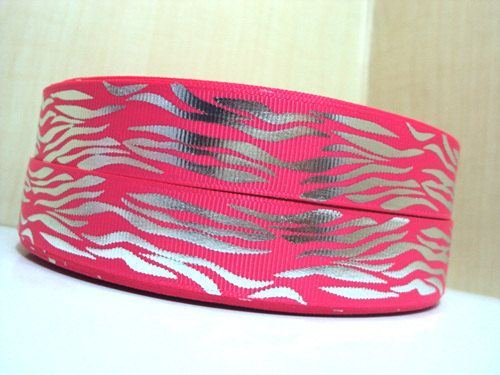 3 yards 7/8 Hot Pink and Silver Zebra Stripe by Ribbonology, $5.00