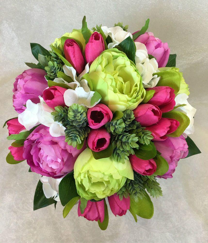 Artificial Silk Flower Hot Pinkgreen Peony Pink Tulip Wedding