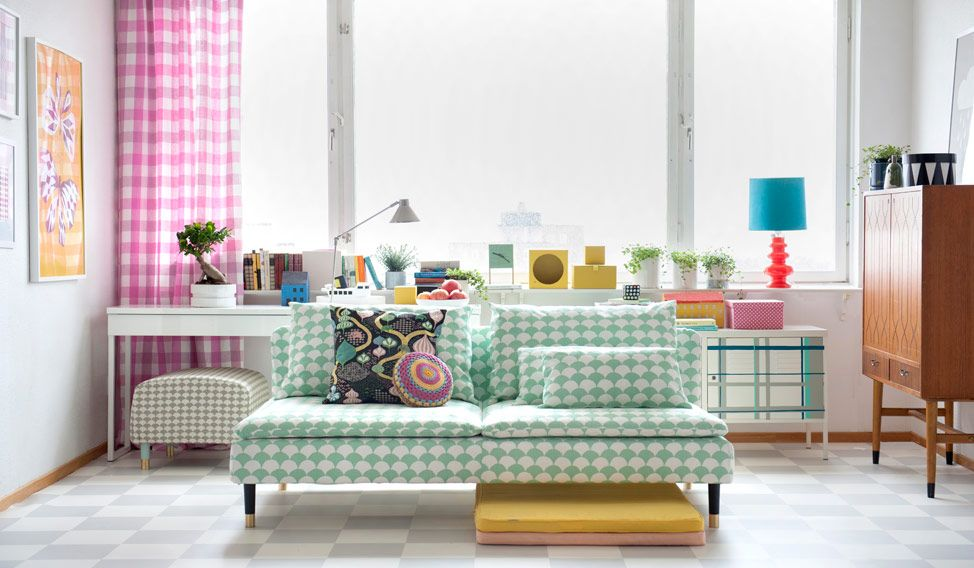 söderhamn 3 seater sofa cover - big waves aqua/white | brighton