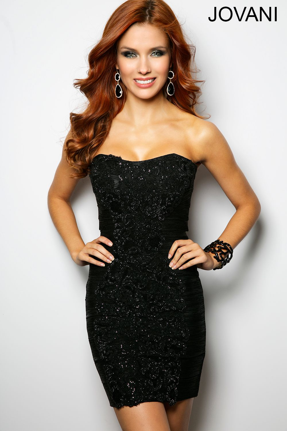 You cannot go wrong with this sparkling jovani short dress