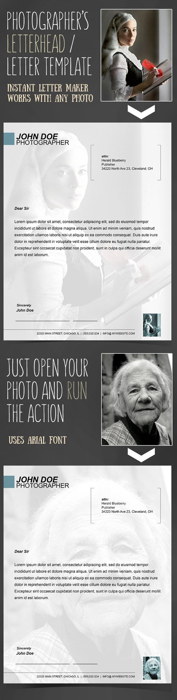 Instant Letterhead for Photographers Action Photo Effects