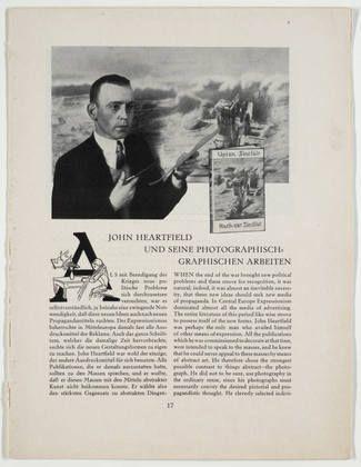 John (born Helmut Herzfelde) Heartfield. John Heartfield und seine photographisch graphischen Arbeiten. c. 1927