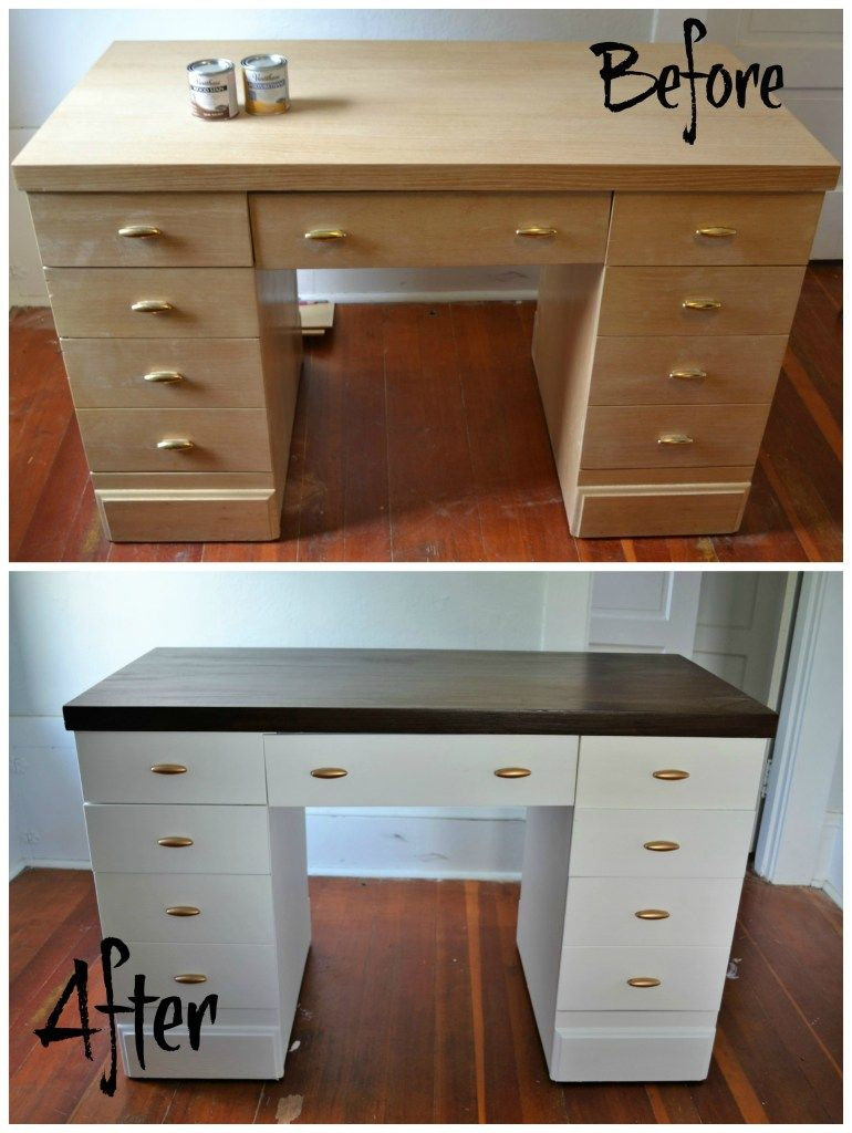 Office Space Upgrade: Desk Redo. Refinishing And Painting An Old Office Desk