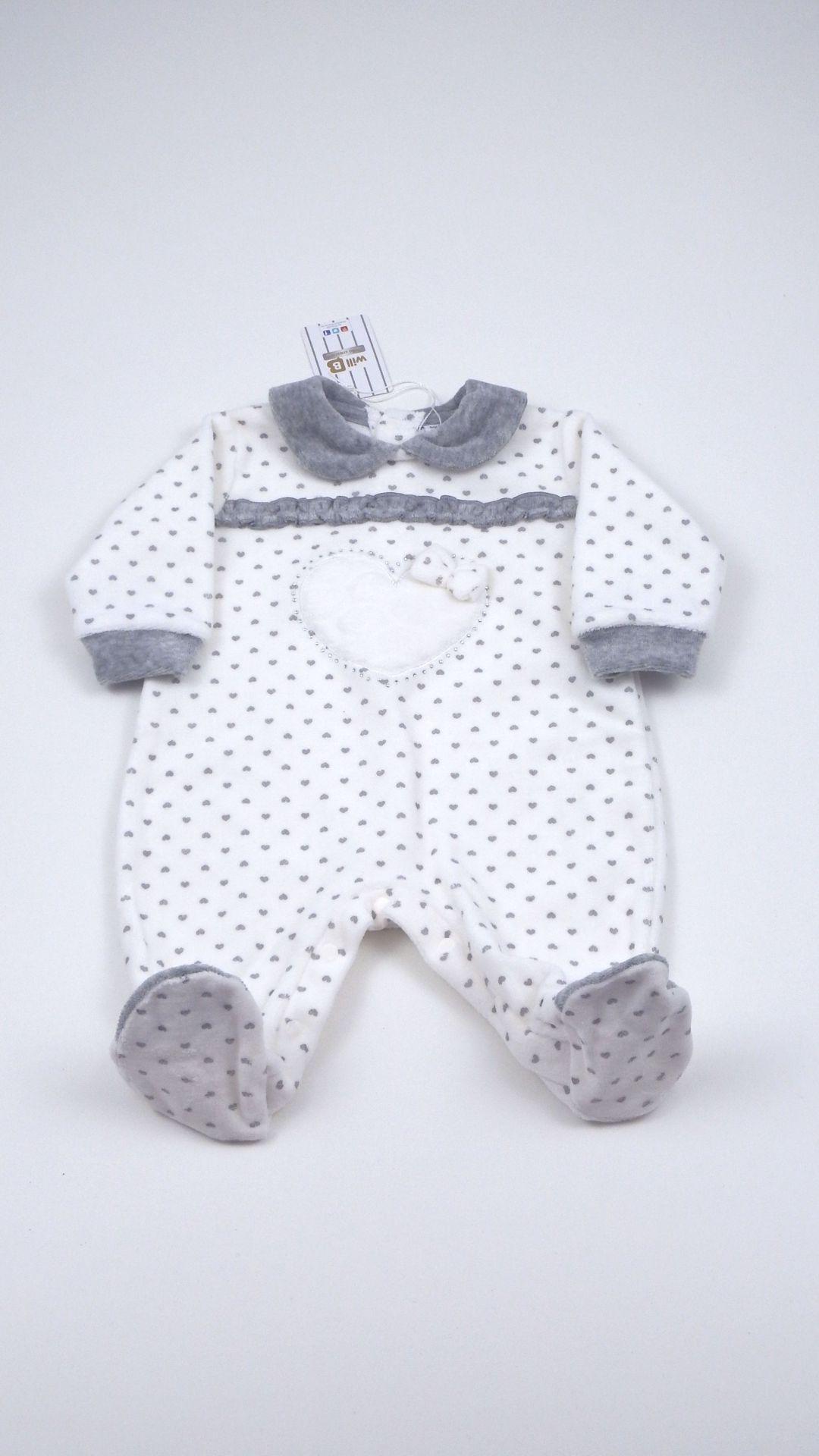 Tutina neonata Will B aperta sotto e dietro realizzata in ciniglia ...