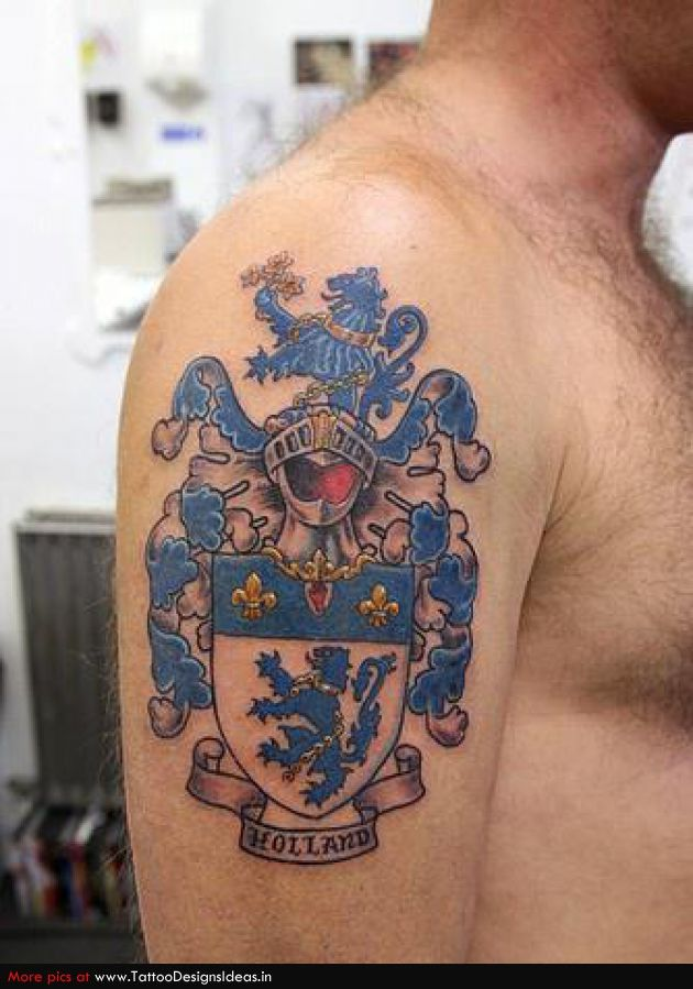 Irish Family Crest Tattoos Chest Family Crest Coat Of Arms Tattoo