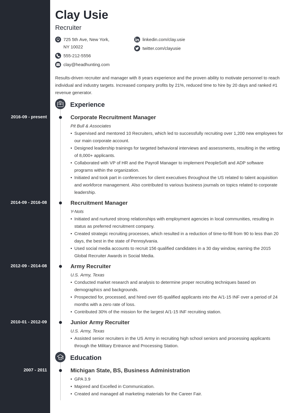 recruiter resume example template concept in 2020