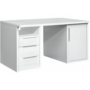 Gezien op Beslist.be: Bureau Work - met 3 lades en deur - wit - 140cm
