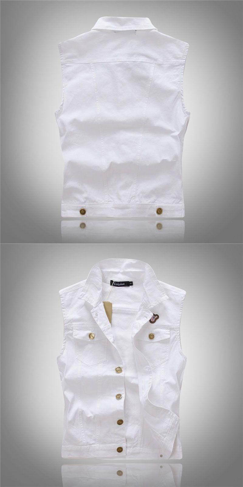 da03fdb1ac1 Men White Denim Vest Fashion Outwear Jeans Waistcoat Sleeveless Special  Logo Motorcycle Club Autumn Top Denim