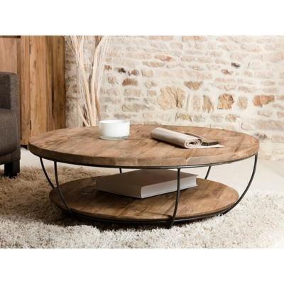 Table Basse Ronde Double Plateau Style Industriel En Bois Teck Pieds En Metal Et Coque Noire O 100 Cm Table Basse Ronde Bois Table Basse Ronde Table Basse