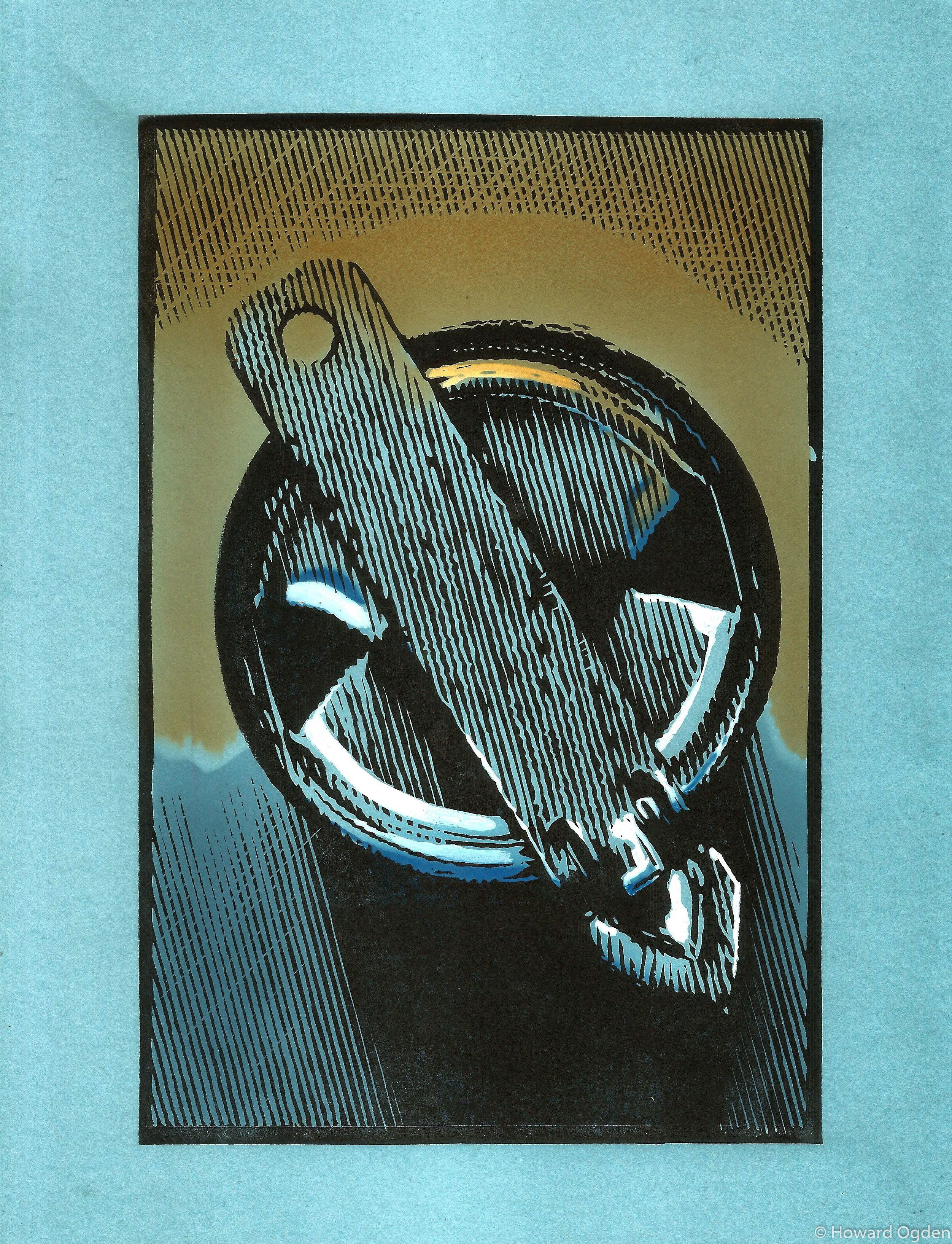 Old School Can Opener Hand Colored Block Print Linocut And Watercolor Pochoir By Howard Ogden