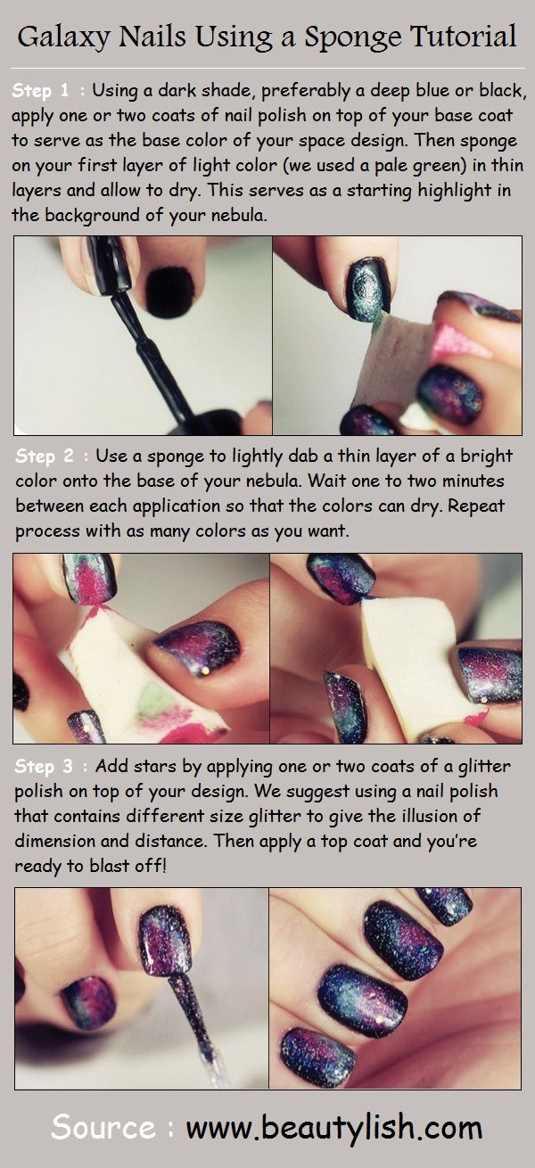 Galaxy Nails Using a Sponge Tutorial | Hair n makeup | Pinterest ...