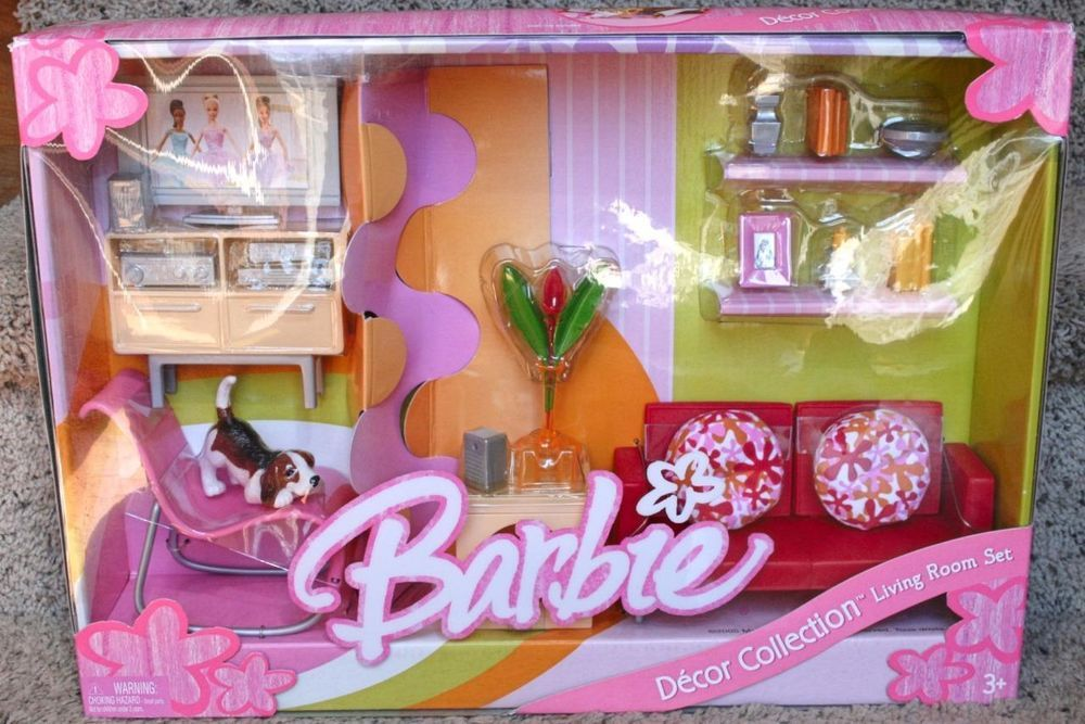Barbie Decor Collection Living Room Furniture Set Chair Couch Etc Nrfb Mattel 05