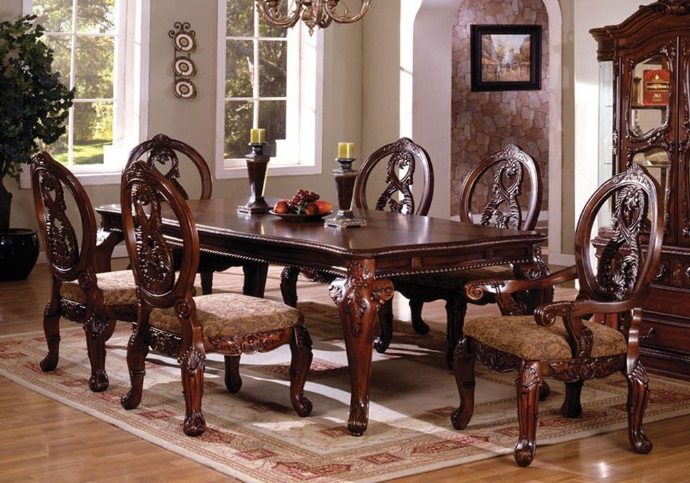 7 Pc Tuscany II Antique Cherry Finish Wood Elegant Formal Style Dining Table Set