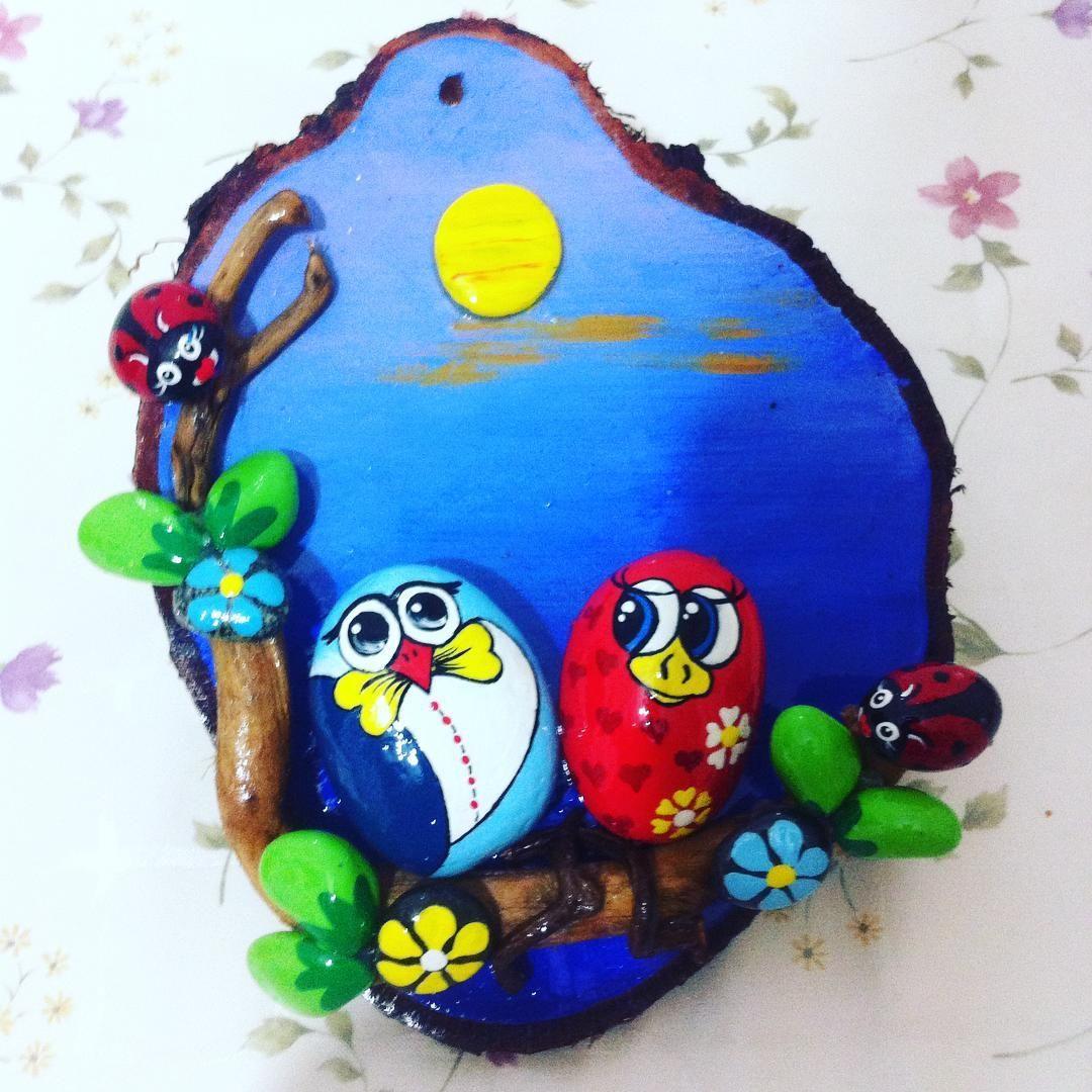 Tas Boyama Baykus Sevgi Sevimli Rock Crafts Pebble Art Pebble Painting
