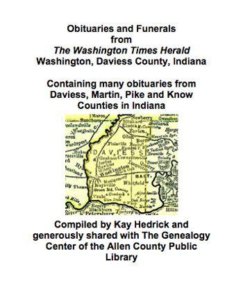 Obituaries from The Washington Times Herald   Daviess County