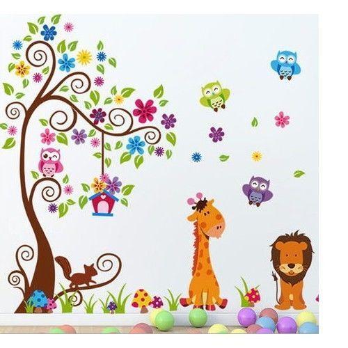 details zu xxl wandtattoo eule baum giraffe löwe wandsticker deko ... - Wandtattoos Fur Babyzimmer Ideen Schliche Wand