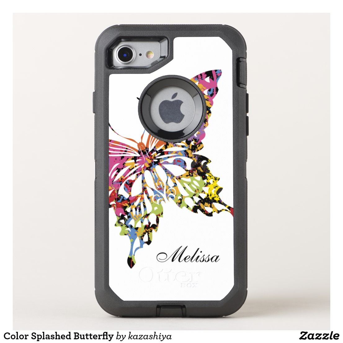 Color splashed butterfly otterbox iphone case