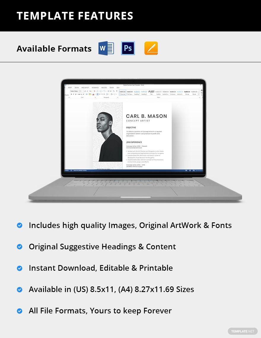 Concept artist resume template ad affiliate artist