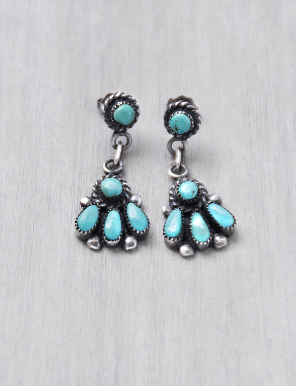 Vintage Pe Point Turquoise Earrings By Bill Lou Laweka Native American Zuni Dangle