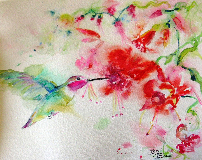 Hummingbird Watercolor painting print giclee flowers bird garden floral landscape fine art 8 x 10 with mat. $25.00, via Etsy.