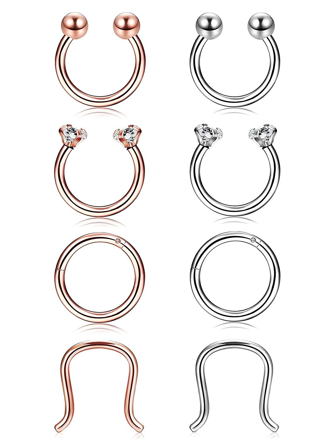 Udalyn 8 Pcs 16g Hoop Nose Ring Surgical Steel Septum Clicker Horseshoe Lip Ring Piercing Jewelry Lip Piercing Ring Nose Rings Hoop Piercing Jewelry