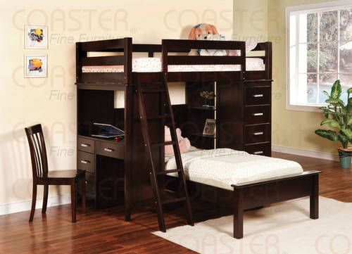 Workstation Bunk bed WITH EVERYTHING!!! desk, Chest 2 beds!!! ALL NEW