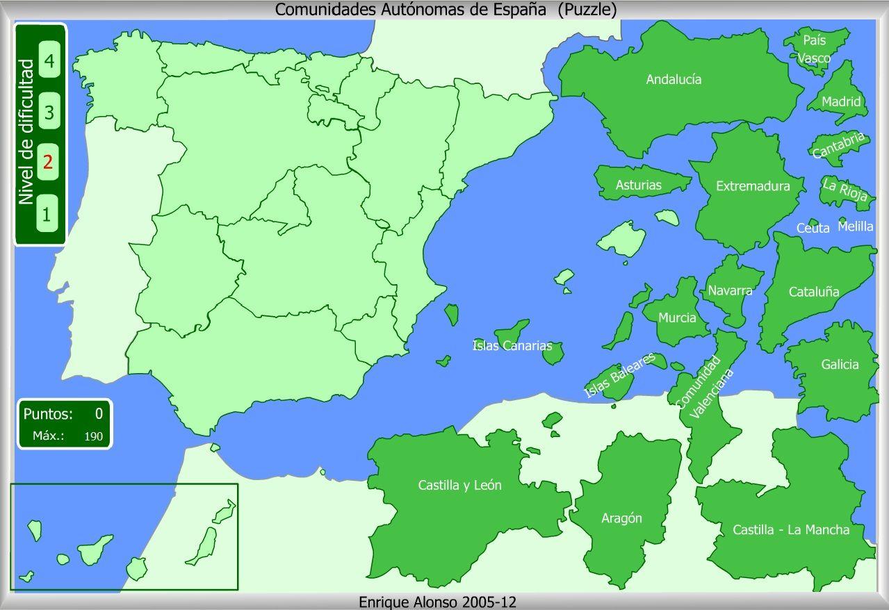 Mapa Provincias España Interactivo.Mapa Interactivo De Espana Comunidades Autonomas Puzzle