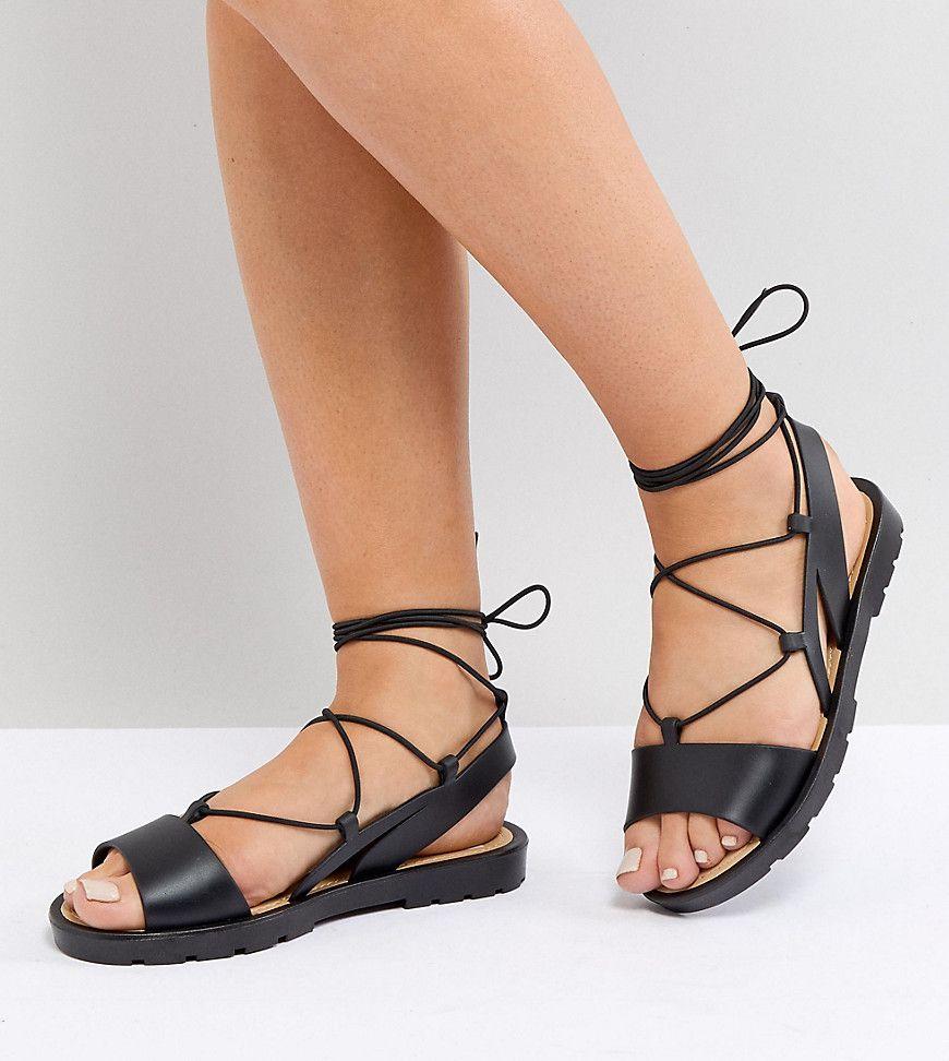 e1d885172cd ASOS FIZZLE Wide Fit Jelly Tie Leg Sandals - Black