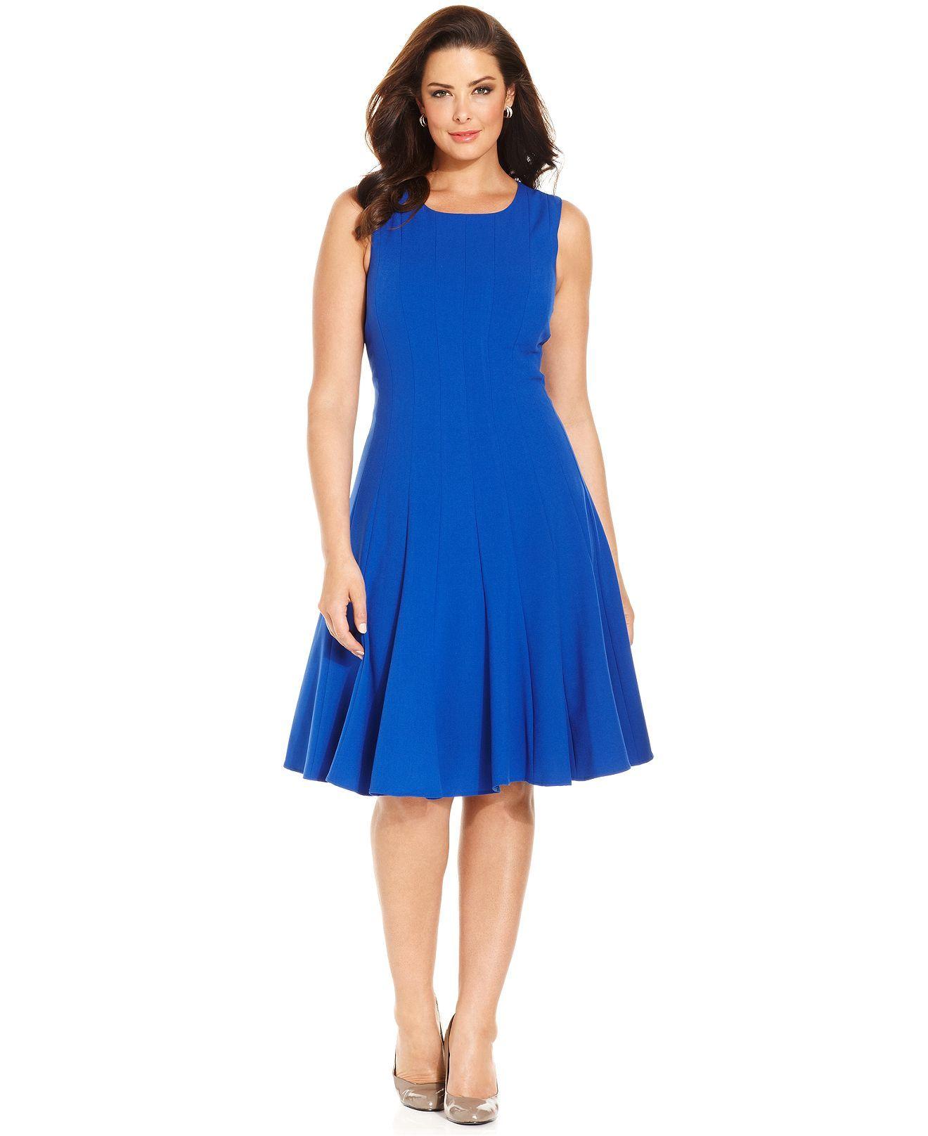 Calvin Klein Plus Size Dress, Sleeveless Pleated A-Line - Plus ...