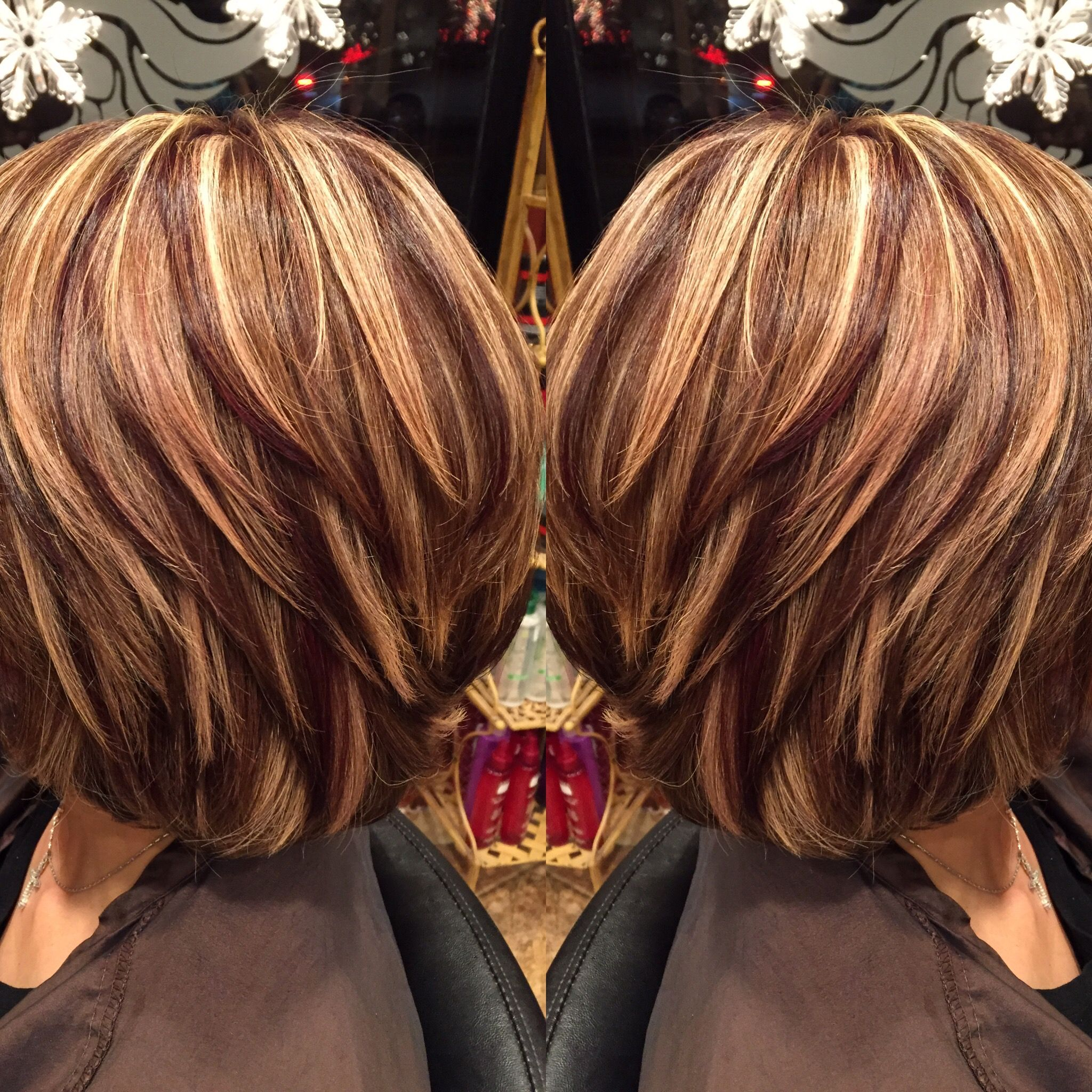 Highlights and lowlights josephashleysalon http hair color style smooth well blended stacked styled med length layers whighlights and lowlights xmulti colorshades fully through all layers of pmusecretfo Gallery