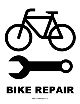 Bike Repair Sign Sign Magrela Desenho