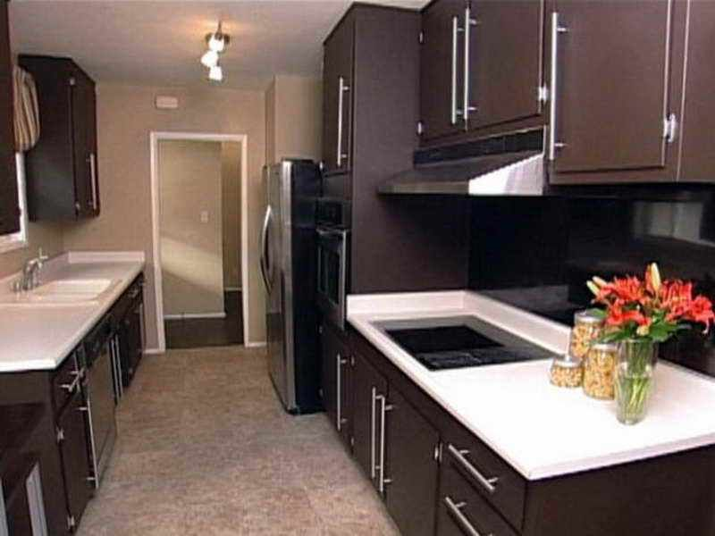 dark wood brown painted cabinets small kitchen design brown