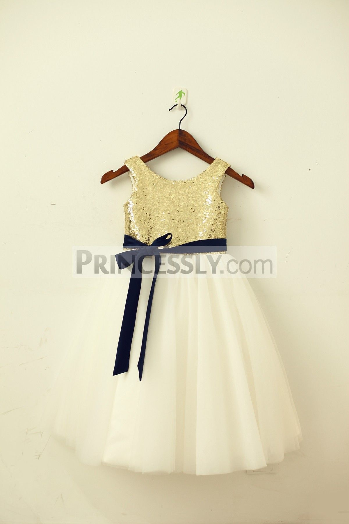 Blush pink girl dress  Blush PinkGold Sequin Ivory Tulle Flower Girl Dress with navy