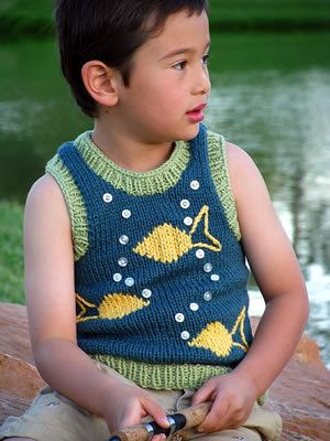 Free Knitting Pattern Toddler Childrens Clothes Go Fish Tank