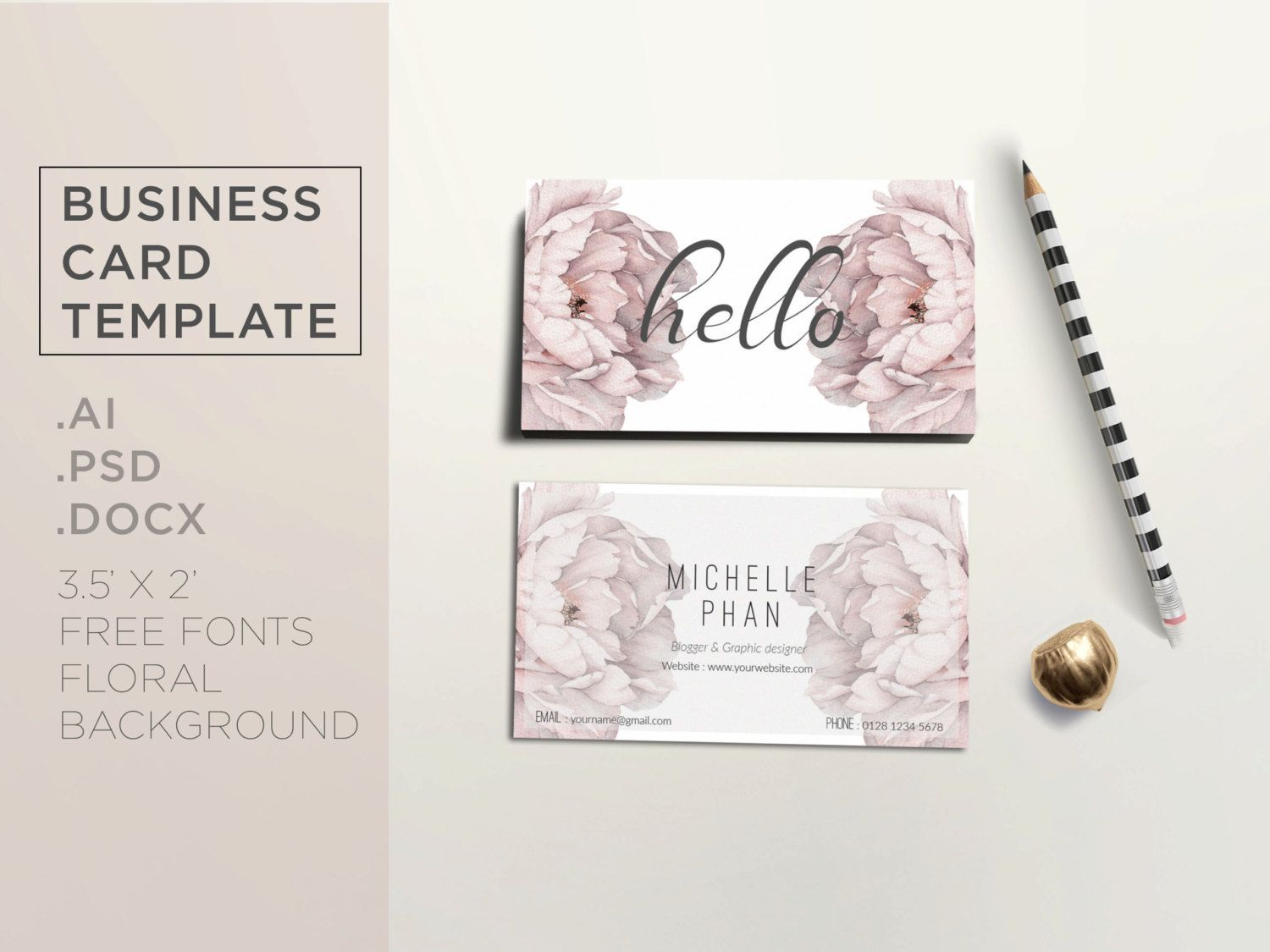 Floral business card template elegant business card design beige elegant business card template templates beautiful creative business card design x professional way to present your business an by chic templates flashek Choice Image