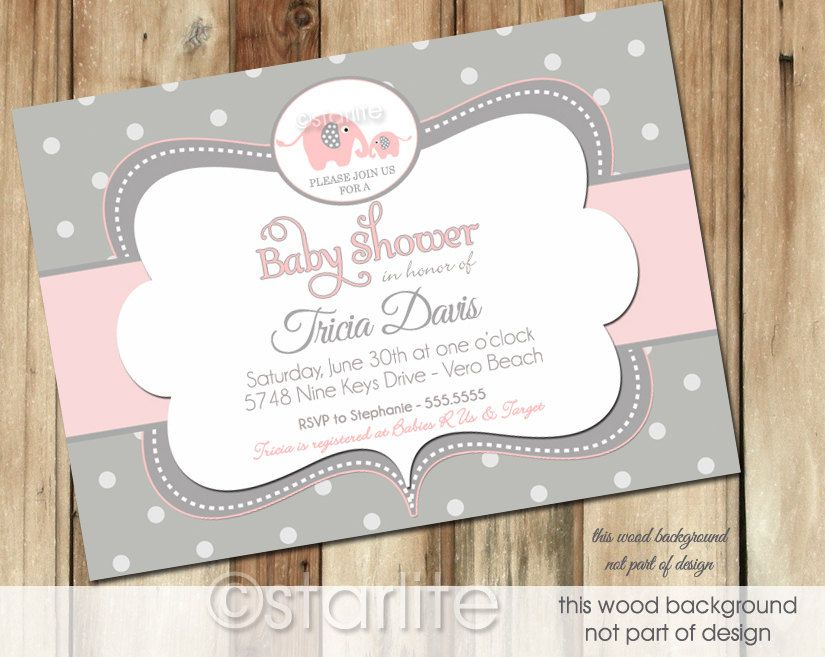 Wonderful Elephant Baby Shower Invitation   Pink And Gray Grey Polka Dots   Baby Girl    PRINTABLE