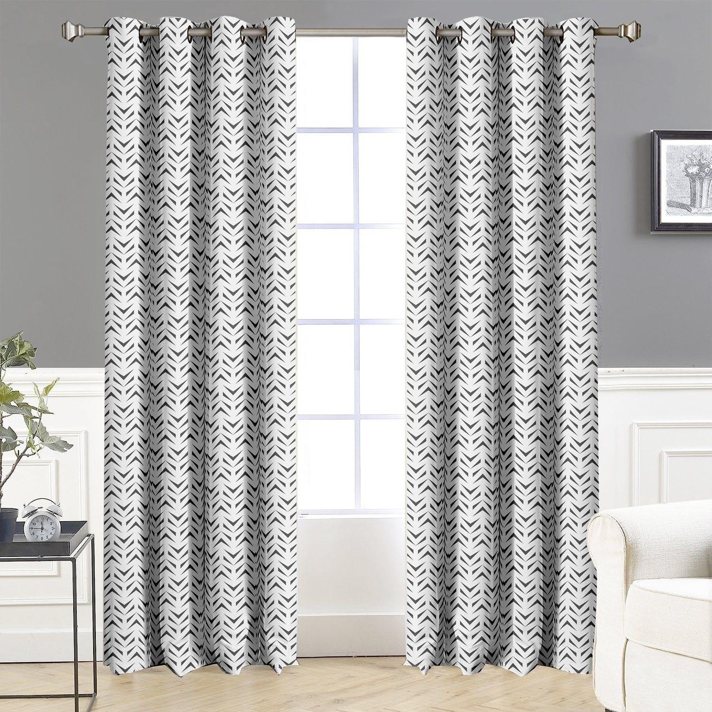 DriftAway Zoe Chevron Room Darkening Thermal Window Curtains 2 Panels Charcoal Black Multi Size 84 Inches