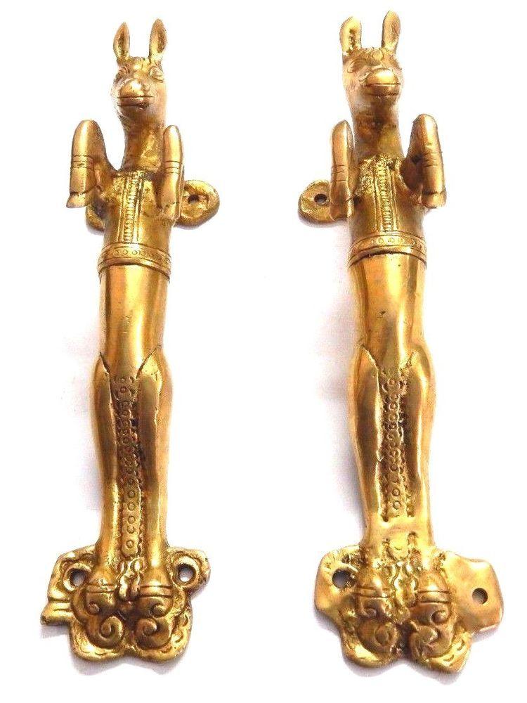 Dragon Brass Door Handle Vintage Style Hand Made Pull Door Knob Antique Finish