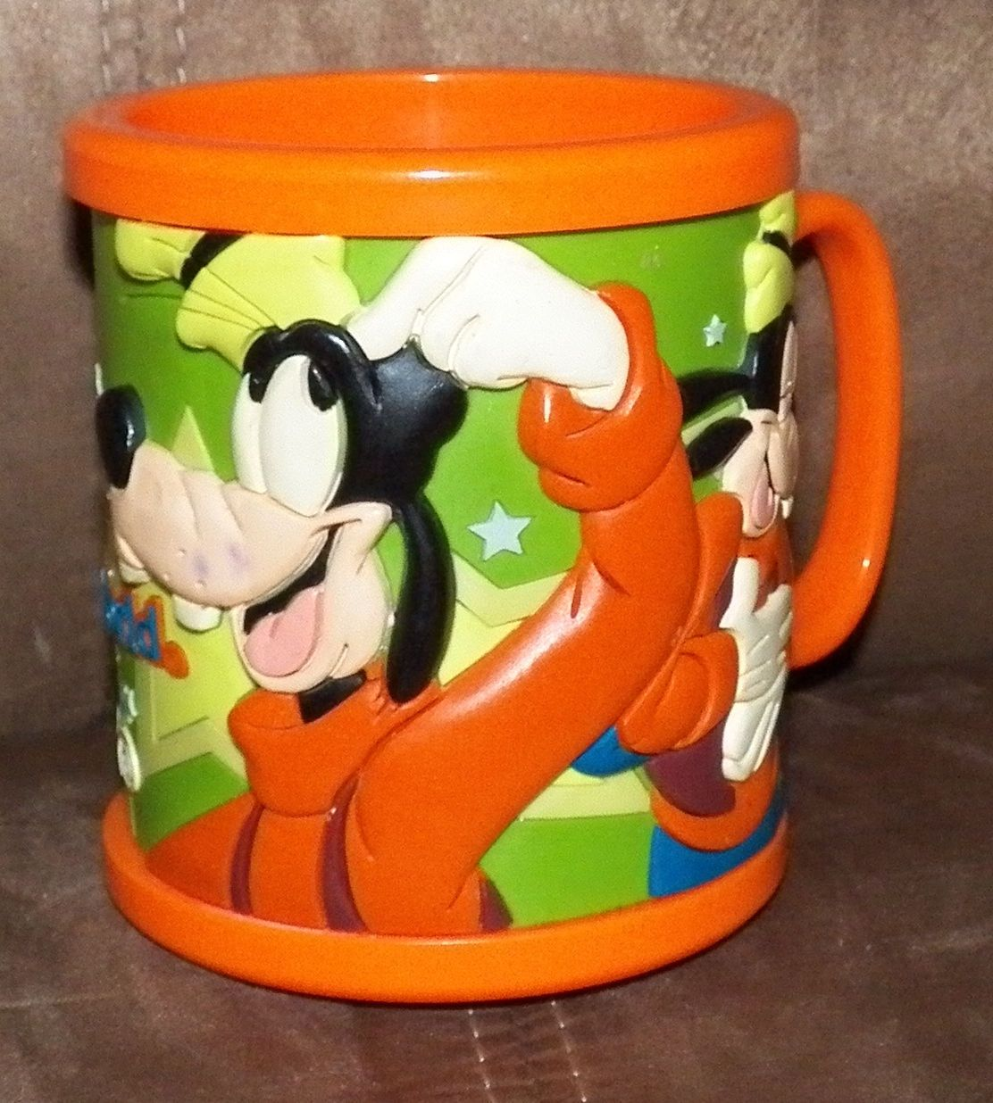 Disney Goofy Orange Plastic Mug Coffee Cup Souvenir