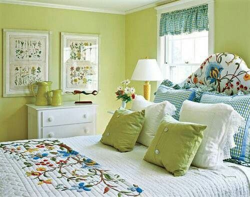 There is it -Sage green & Blue my favorite bedroom colors ...