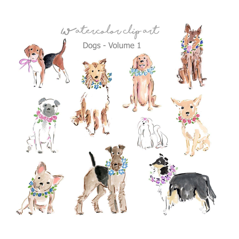 Watercolor Dog Digital Dogs Clip Art Set Watercolor Clipart Dog