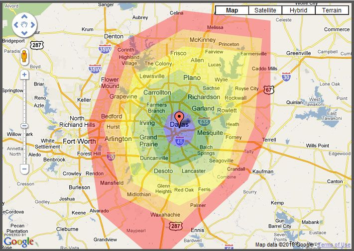 drive time map of Dallas | I maps. | Map, Drive time, Heat map on