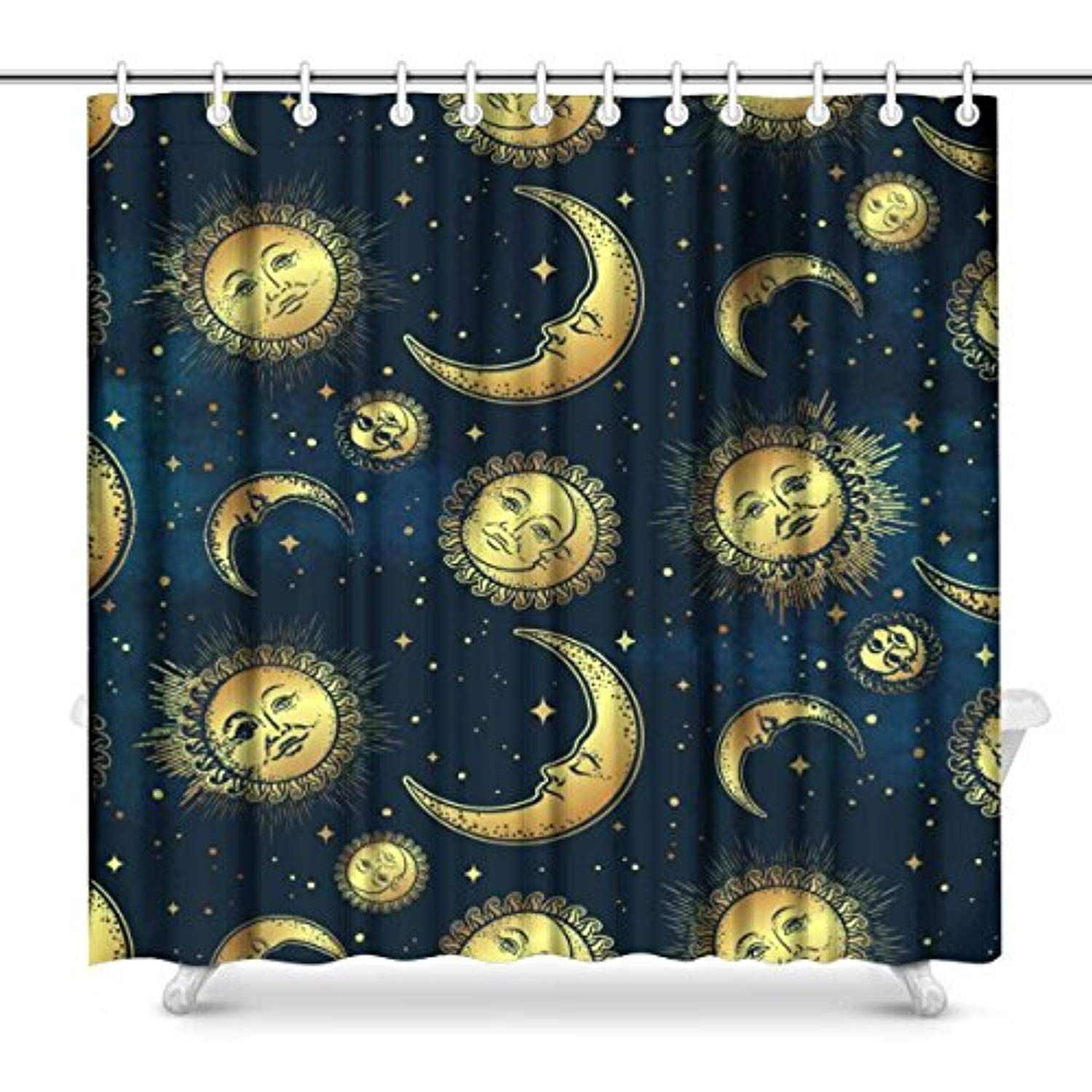 Interestprint Boho Celestial Bodies Gold Sun Moon And Stars Waterproof Polyester Fabric Shower Curtain Fabric Shower Curtains Bathroom Shower Curtains Gold Sun