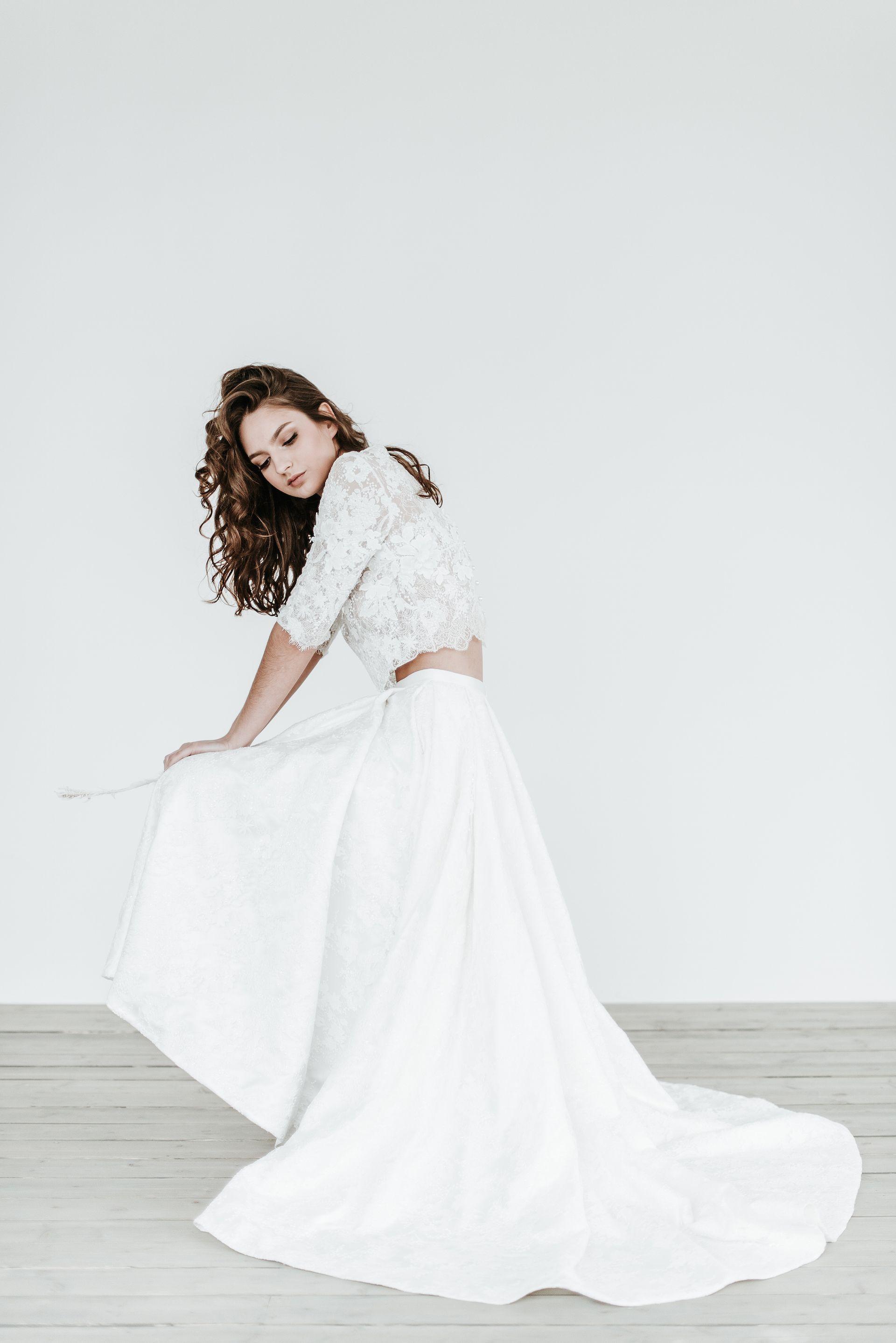 Two piece wedding dress high low bridal separates jurgita bridal