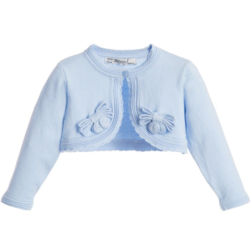 Baby girls light blue bolero cardigan by Mayoral Chic. | for baby ...